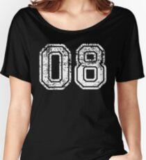 Sport Team Jersey 08 T Shirt Football Soccer Baseball Hockey Basketball Eight 8 08 Number Women's Relaxed Fit T-Shirt