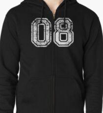 Sport Team Jersey 08 T Shirt Football Soccer Baseball Hockey Basketball Eight 8 08 Number Zipped Hoodie