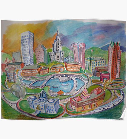 Providence, Rhode Island.... A Colorful City Poster