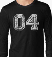 Sport Team Jersey 04 T Shirt Football Soccer Baseball Hockey Basketball Four 4 04 Number Long Sleeve T-Shirt