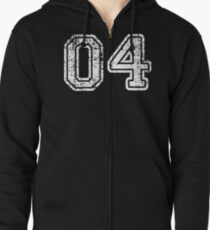 Sport Team Jersey 04 T Shirt Football Soccer Baseball Hockey Basketball Four 4 04 Number Zipped Hoodie