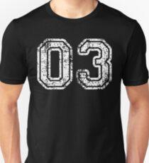 Sport Team Jersey 03 T Shirt Football Soccer Baseball Hockey Basketball three 3 03 Number Unisex T-Shirt