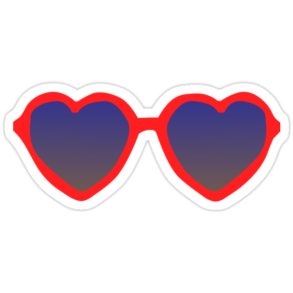 Quot Red Heart Sunglasses Quot Stickers By Dylanreich Redbubble