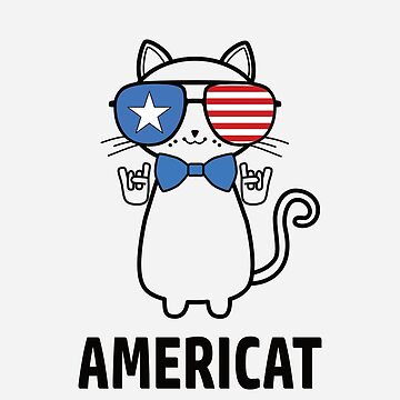 Patriotic American Cat Apparel and Merch, 'Americat' by mjcreative