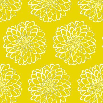 White dahlia on yellow background by o2creativeNY