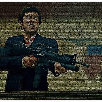 Text Portrait of Tony Montana with Full Script of Scarface  by luigitarini