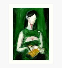 """Fashion and Victim Painting """"Green and Beauty"""" Art Print"""