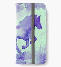 Blaues Aquarell Pferd iPhone Flip-Case/Hülle/Skin