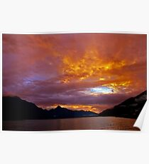 Queenstown Sunset Lake Wakatipu New Zealand  Poster