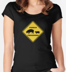Porco Cruzando Pig Crossing Funny Portuguese Road Sign Women's Fitted Scoop T-Shirt