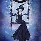 Moon swing witch art by Renee Lavoie by Renee Lavoie