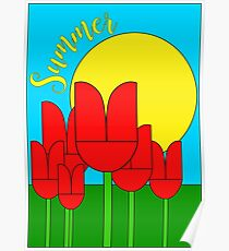 Summer with tulips - Vector Poster