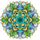 Mandala drawing - green, blue, yellow by Anastasia Helten
