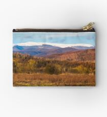 springtime countryside with snowy mountain Studio Pouch
