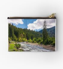 beautiful landscape with forest river in mountains Studio Pouch