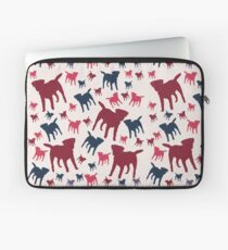 Border Terrier Gifts for Dog Lovers Deep Red, Cream & Navy Silhouette Laptop Sleeve