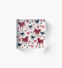 Border Terrier Gifts for Dog Lovers Deep Red, Cream & Navy Silhouette Acrylic Block