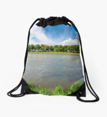 linden alley on the bank of the river Uzh Drawstring Bag