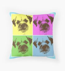 Border Terrier Gifts for Dog Lovers Andy Warhol Inspired Neon Pink, Yellow, Green, Blue Throw Pillow