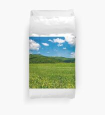 beautiful landscape with meadow in mountains Duvet Cover