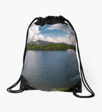 panorama of Capra lake, Romania Drawstring Bag