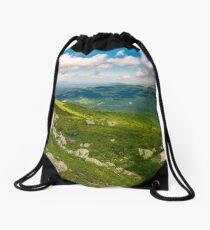 green rolling hills of Carpathian mountains Drawstring Bag