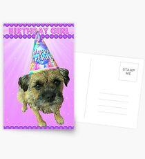 Border Terrier Birthday Girl Card Pink Postcards