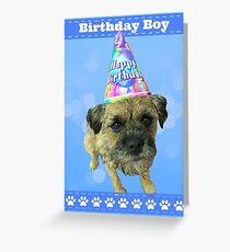 Border Terrier Birthday Boy Card Blue Greeting Card