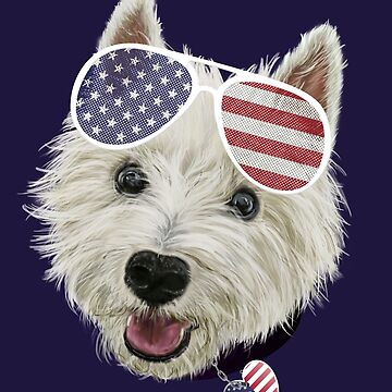 Westie Dog Fourth Of July USA Flag Glasses And Heart  by brodyquixote