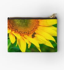 bees gathering pollen of the sunflower Studio Pouch