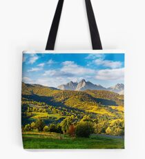 mountainous panorama of countryside at sunrise Tote Bag