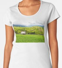 woodshed on grassy hill in rural area Women's Premium T-Shirt