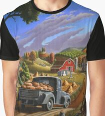 Taking Pumpkins To Market Fall Farm Landscape - Thanksgiving Folk Art Graphic T-Shirt