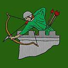Archer on the Battlement Fantasy Embroidery by Patjila by patjila