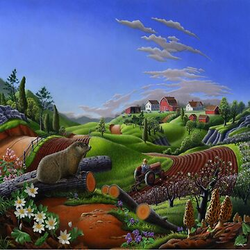 Farm Folk Art - Groundhog Spring Appalachian Farm Landscape by waltcurlee