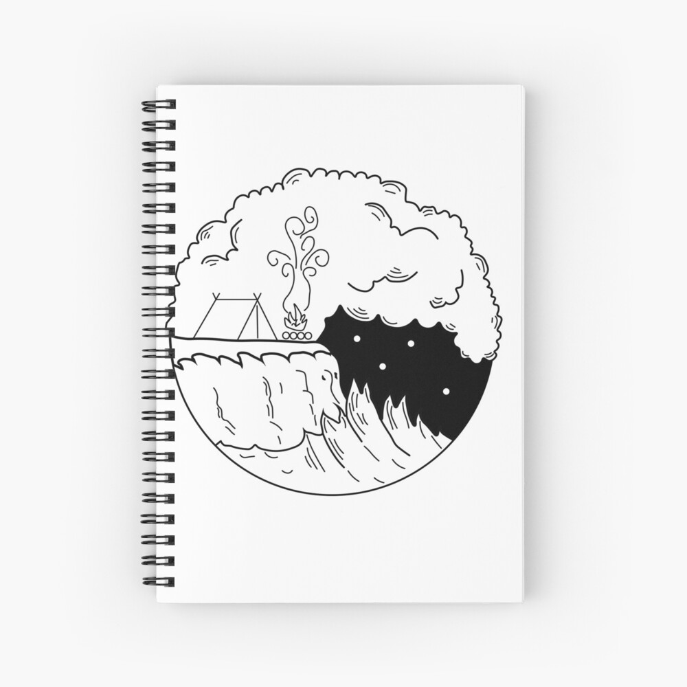 Camping by the sea Spiral Notebook