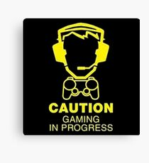 Caution Gaming In Progress Canvas Print
