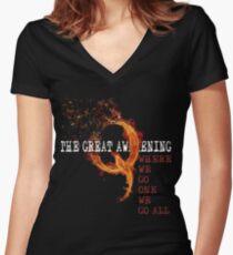 QAnon Storm The Great Awakening WWG1WGA by Scralandore Women's Fitted V-Neck T-Shirt
