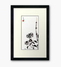 Chrysanthemum & Bamboo Framed Print