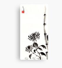 Chrysanthemum & Bamboo Canvas Print