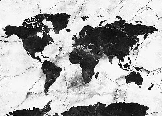 Weltkarte aus Marmor von BekimART