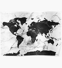 Weltkarte aus Marmor Poster