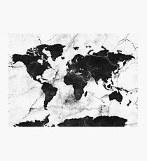 world map marble Photographic Print