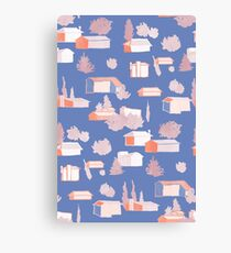 Suburbia Pattern in Blue Canvas Print