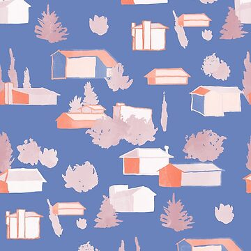 Suburbia Pattern in Blue by Theysaurus