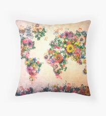 world map floral 4 Throw Pillow
