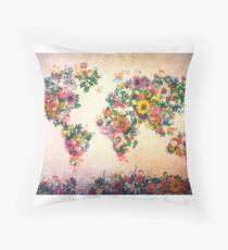 world map floral 4 Floor Pillow