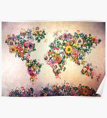 Weltkarte mit Blumen 4 Poster