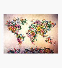 Lámina fotográfica mapa del mundo floral 4