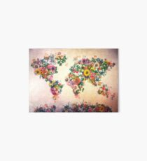 world map floral 4 Art Board
